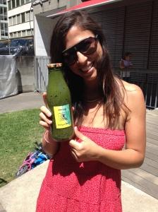 First bottle of greens, sampled at Ayla's creche brunch! Label art care of Ayla :)
