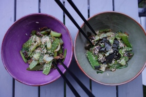 His & hers rice/ veggie bowls.  Nick prefers his nori on the side... !
