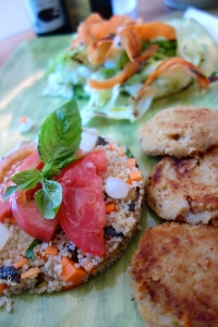 Chick pea patties, quinoa salad & mixed greens.  The perfect lunch.  @ Casa Bottega.