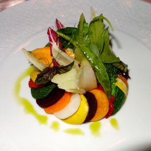 Warm vegetable salad... The best veggie presentation I have ever seen!  At Il San Pietro (michelin starred restaurant.)  Overall amazing experience and food presentation lovely but food... not gushing over it.