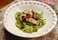 Voila!  Zucchini spaghetti with cremini mushrooms, smothered in avocado/ mint/ nut creamy sauce. YUM!