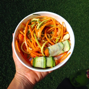 My awesome lunch today - raw pad thai with zucchini cannelloni.  Delish!