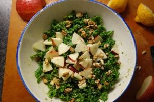 Version 1 - massaged kale, avocado lemon with apple, walnuts and raisins.